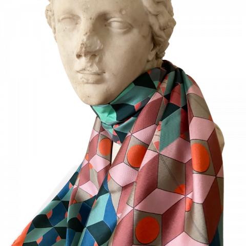 goddess statue silk scarf - ceres blue green orange silk scarf - neck scarf - ancienne ambiance