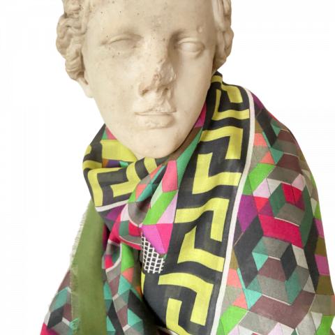 goddess statue - minerva greek key modal cashmere scarf - ancienne ambiance luxury scarves