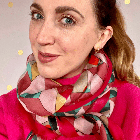 demeter red pattern cashmere blend scarf - ancienne ambiance luxury scarves - image by helen wilson beevers