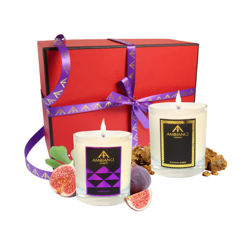 alteeneh fig and romana amber scent pairing candle set | luxury scented candles - limited edition red gift box - christmas candles set - scent pairing candle set