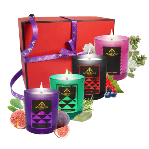 limited edition candles set - christmas candles gift set - coloured candles set - luxury handpoured candles festive gift set