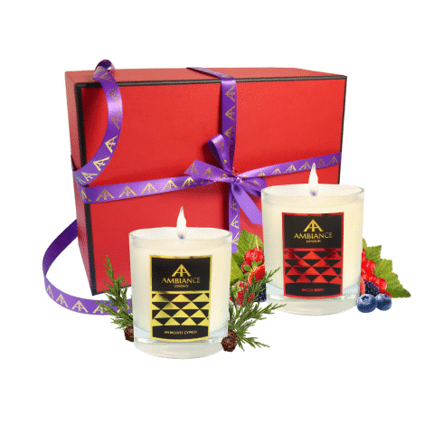 aphrodite cypress and bacca berry scent pairing candle set | luxury scented candles - limited edition red gift box - christmas candles set - scent pairing candle set