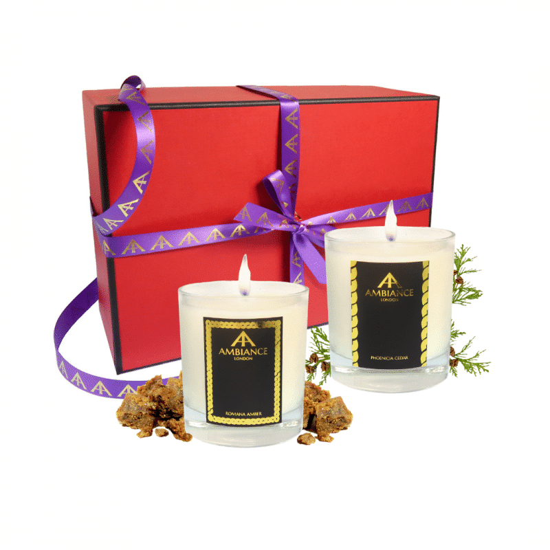 phoenicia cedar and romana amber scent pairing candle set   luxury scented candles - limited edition red gift box - christmas candles set - scent pairing candle set
