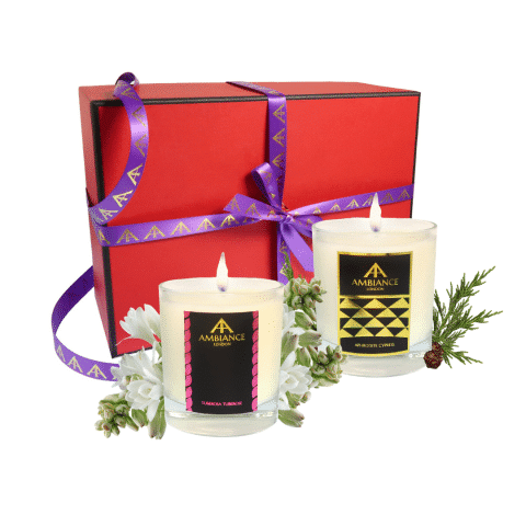 tuberosa tuberose and aphrodite cypress scent pairing candle set | luxury scented candles - limited edition red gift box - christmas candles set - scent pairing candle set
