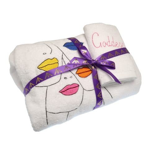 Home Spa Towel Wrap | Goddess Vibes Towel Dress | Lips Embroidery
