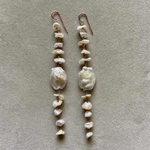 ancienne ambiance - claire van holthe long 11 baroque pearl earrings - south sea pearl statement earrings