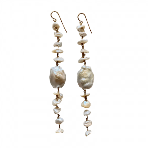 ancienne ambiance - claire van holthe long 11 baroque pearl earrings - statement earrings - south sea pearl statement earrings
