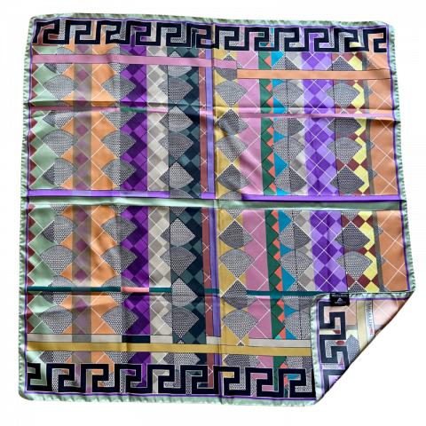 greek key square silk twill scarf - ancienne ambiance luxury scarves - aphrodite grey print scarf