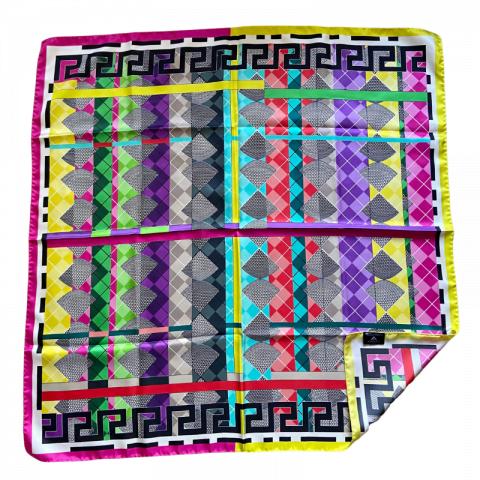 greek key square silk twill scarf - ancienne ambiance luxury scarves - aphrodite pink print scarf - greek key scarf
