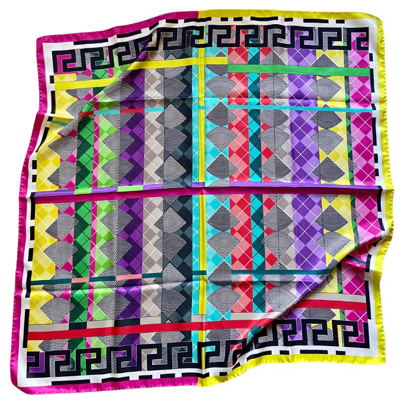 greek key square silk twill scarf - ancienne ambiance luxury scarves - aphrodite pink print scarf - greek key scarves
