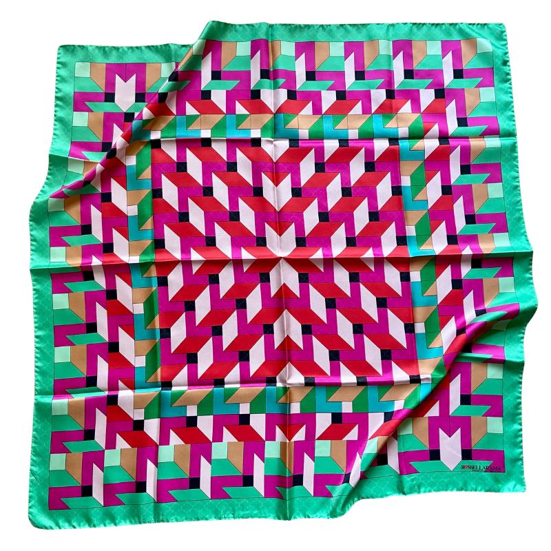 square silk twill scarf - ancienne ambiance luxury scarves - ariadne print scarf