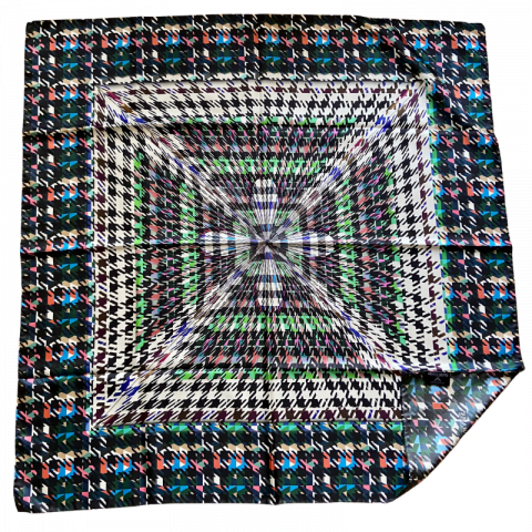 houndstooth square silk twill scarf - ancienne ambiance luxury scarves - artemis black print silk scarf