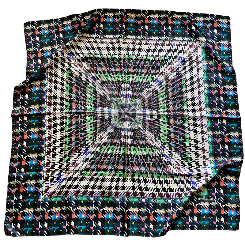 houndstooth square silk twill scarf - ancienne ambiance luxury scarves - artemis black print scarf