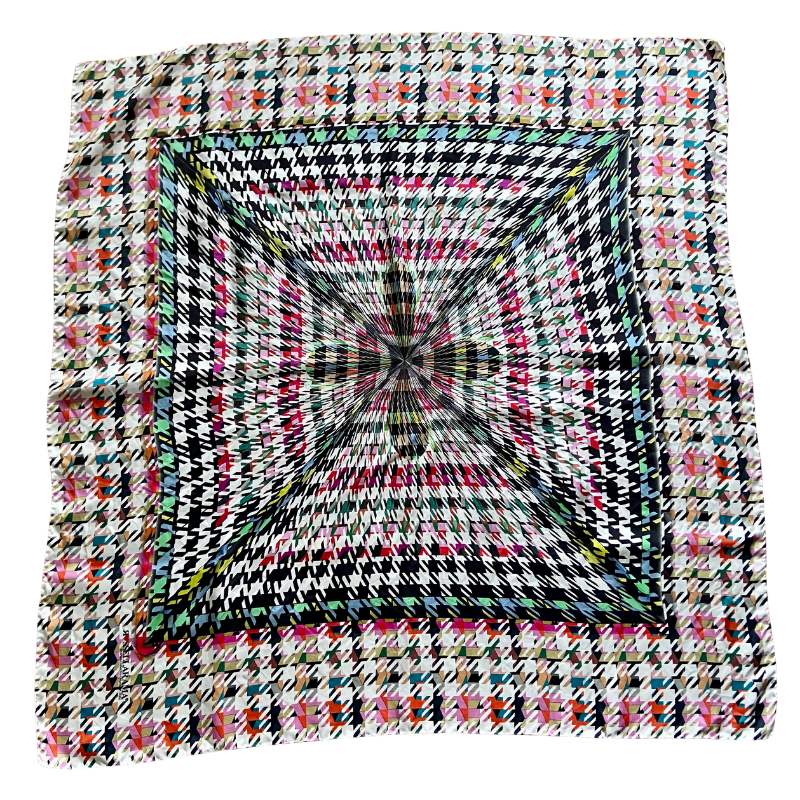 houndstooth square silk twill scarf - ancienne ambiance luxury scarves - artemis print scarf