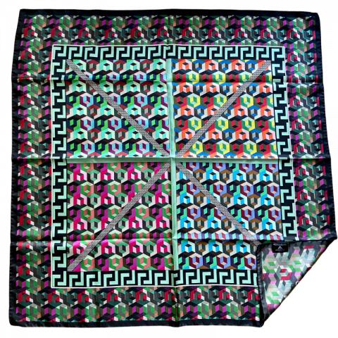 greek key square silk twill scarf - ancienne ambiance luxury scarves - athena print scarf