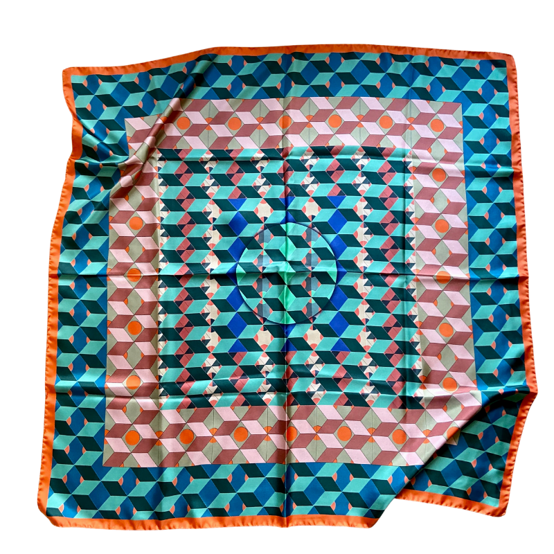 square silk twill scarf - ancienne ambiance luxury scarves - ceres print scarf
