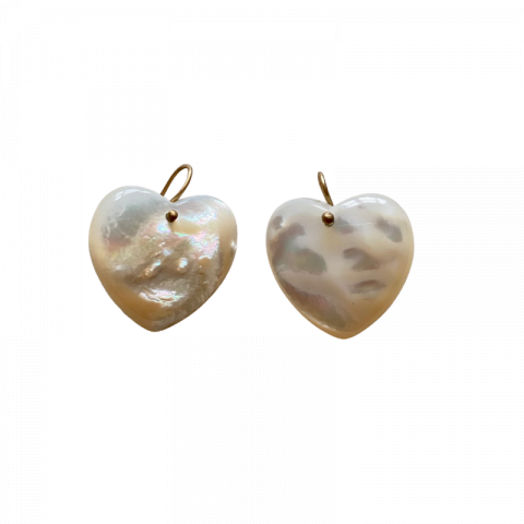 heart earrings - mother of pearl earrings - claire van holthe earrings - ancienne ambiance