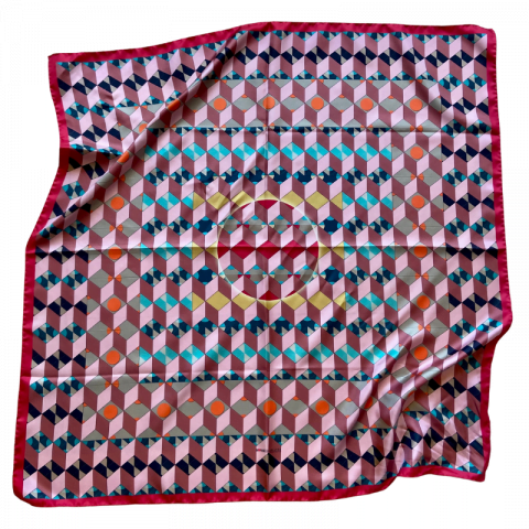 red square silk twill scarf - ancienne ambiance luxury scarves - demeter print scarf