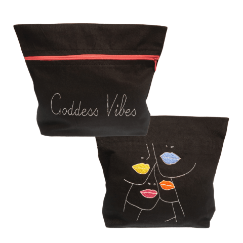 goddess vibes embroidery lips black bag - ancienne ambiance