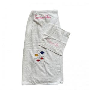 Home Spa Towel Wrap | Goddess Vibes Towel Dress | Lips Embroidery - ancienne ambiance