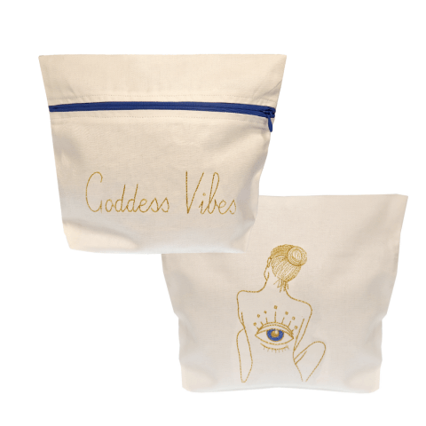 gold goddess vibes embroidery white evil eye bag - ancienne abmbiance