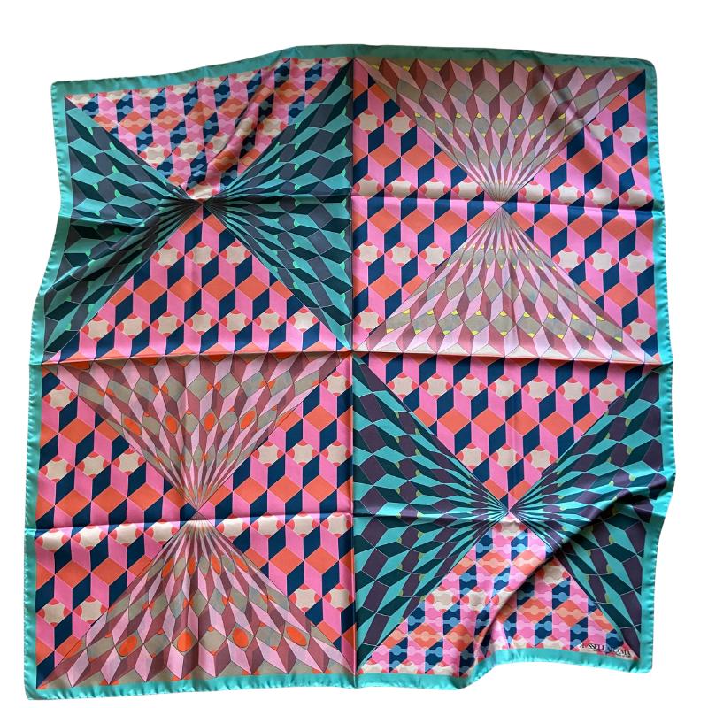 square silk twill scarf - ancienne ambiance luxury scarves - hera print scarf