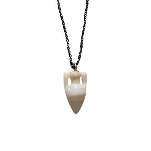 maximos zachariadis mother of pearl amphora pendant necklace - ancienne ambiance