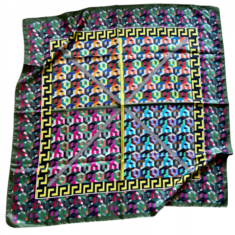 greek key square silk twill scarf - ancienne ambiance luxury scarves - minerva print scarf