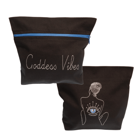 sliver goddess vibes embroidery black evil eye bag - ancienne ambiance