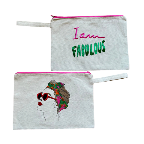MELISSA wear your heart - i am fabulous natural canvas embroidered clutch bag - ancienne ambiance - large canvas pouch