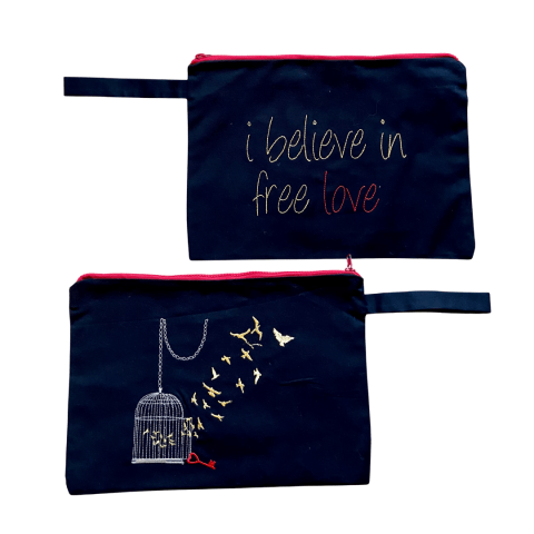 MELISSA wear your heart - i believe in free love embroidered clutch bag - ancienne ambiance - large canvas pouch