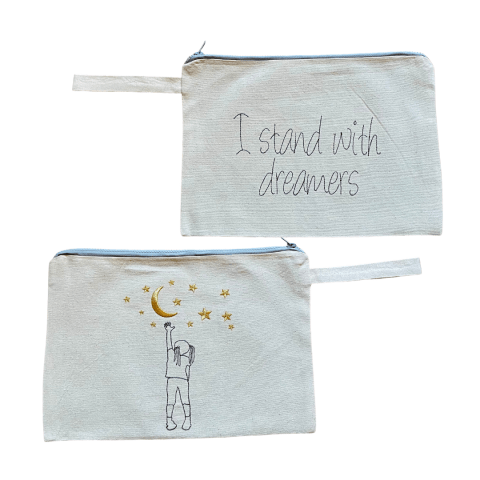 MELISSA wear your heart - i stand with dreamers natural canvas embroidered clutch bag - ancienne ambiance - large canvas pouch