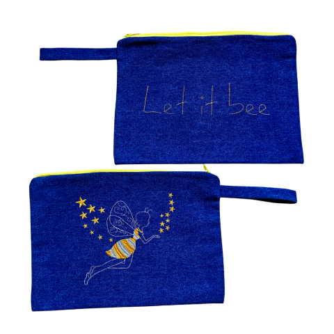 MELISSA wear your heart - let it bee denim embroidered clutch bag - ancienne ambiance - large canvas pouch