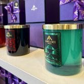 ancienne ambiance coloured scented candles with gold lids