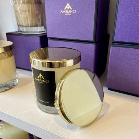ancienne ambiance luxury scented candle with gold candle lid