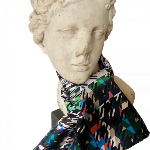goddess statue silk scarf - artemis houndstooth print silk scarf - silk neck scarf - ancienne ambiance