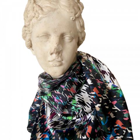 goddess statue silk scarf - artemis houndstooth print silk scarf -silk twill scarf - ancienne ambiance