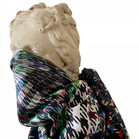 goddess statue silk scarf - artemis houndstooth print silk scarf - face covering scarf - ancienne ambiance