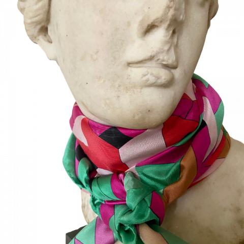 goddess statue silk scarf - ariadne pink red green silk scarf - neck scarf - ancienne ambiance