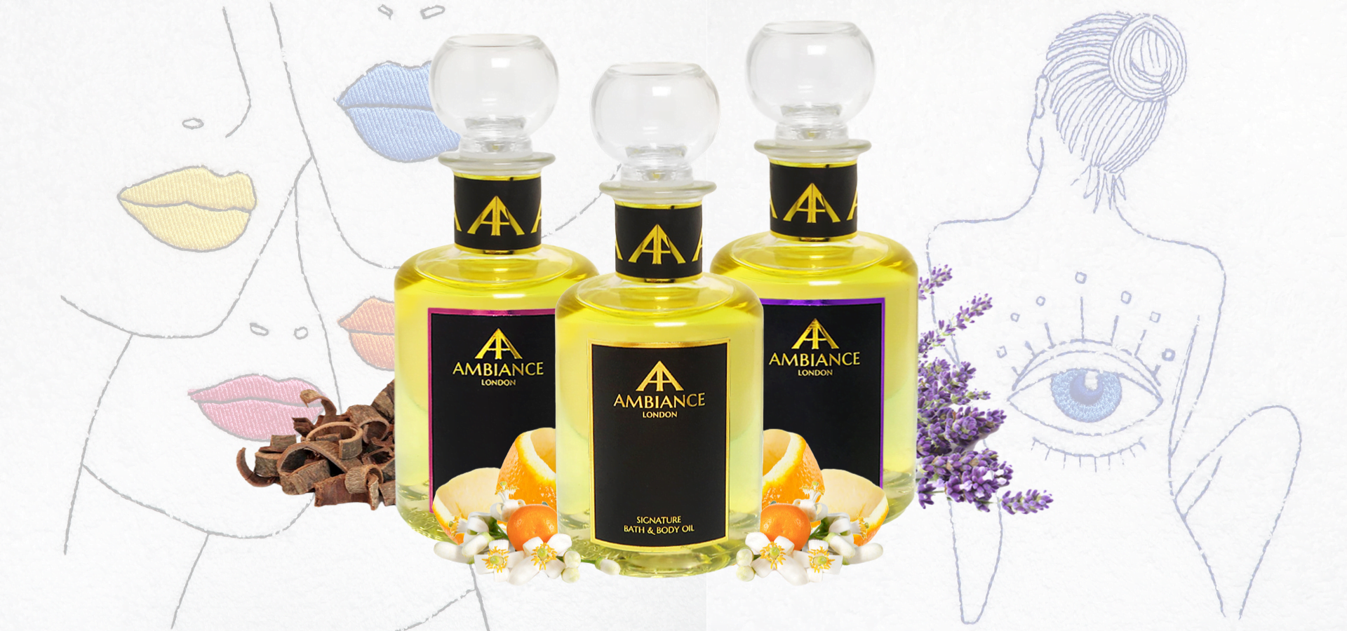 luxury bath oils - luxury body oils - ancienne ambiance scented delights for self care home spa