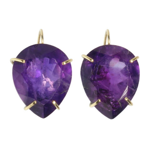Large Pear-Shaped Amethyst Earrings | Claire van Holthe Jewellery | 18k gold earrings