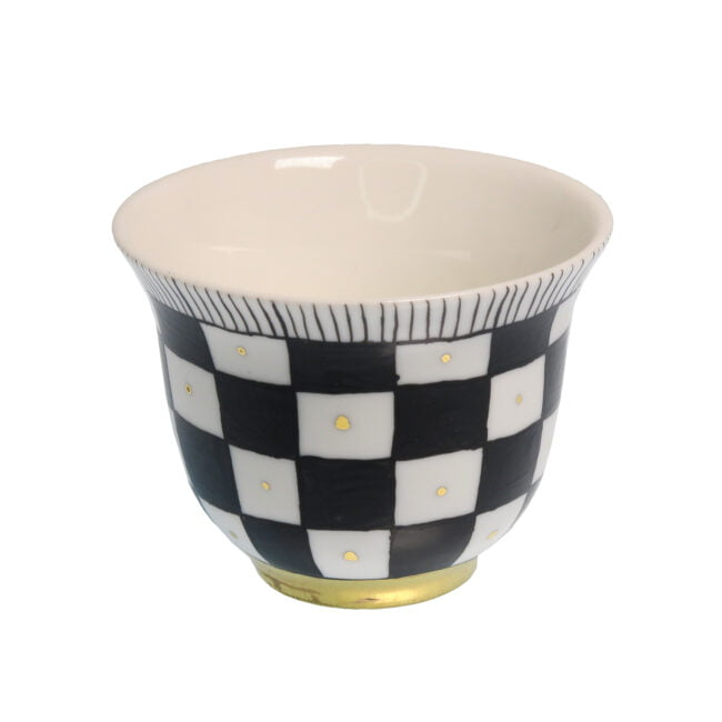 CHECK DESIGN porcelain gold-plated Tealight CANDLE Holder Cup B
