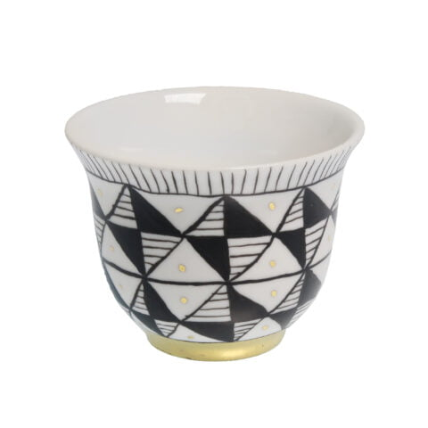 GEOMETRIC PRINT porcelain gold-plated Tealight CANDLE Holder Cup G
