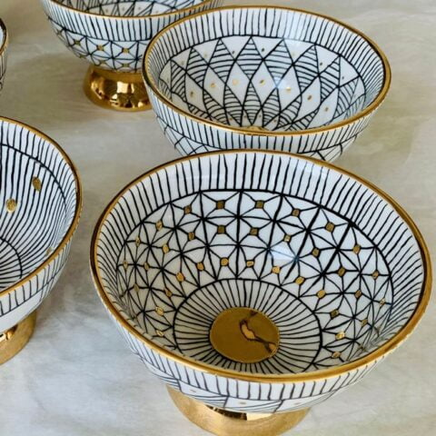gold-plated porcelain bowls - hand painted porcelain tableware - ancienne ambiance london