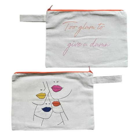 MELISSA wear your heart - too glam to give a damn embroidered clutch bag - ancienne ambiance - large canvas pouch